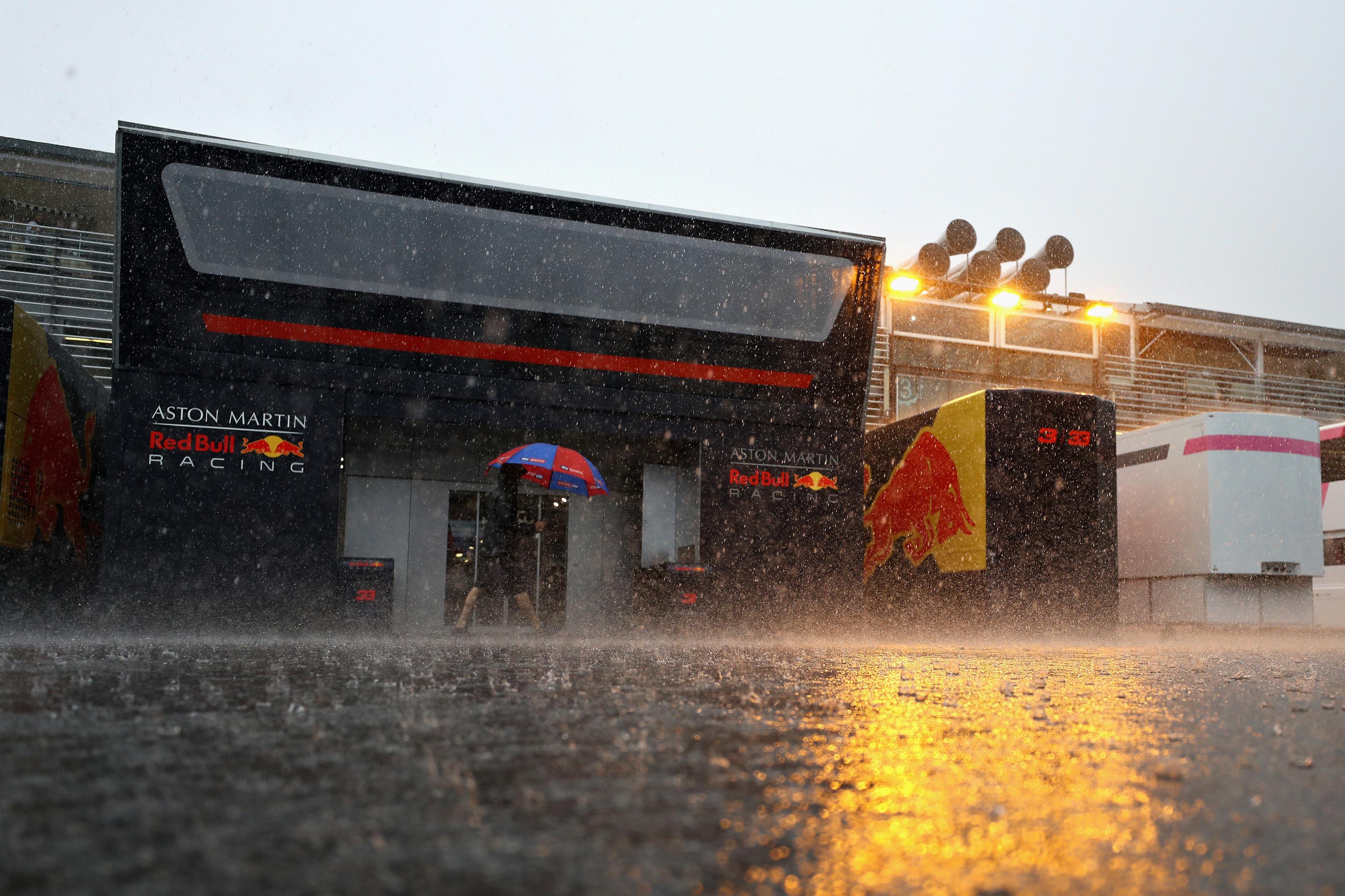 paddock de monza en 2018 sous la pluie