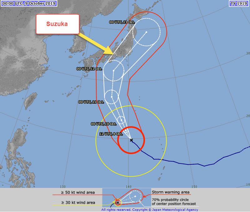 Typhon Hagibis : Le point météo avant le GP du Japon 2