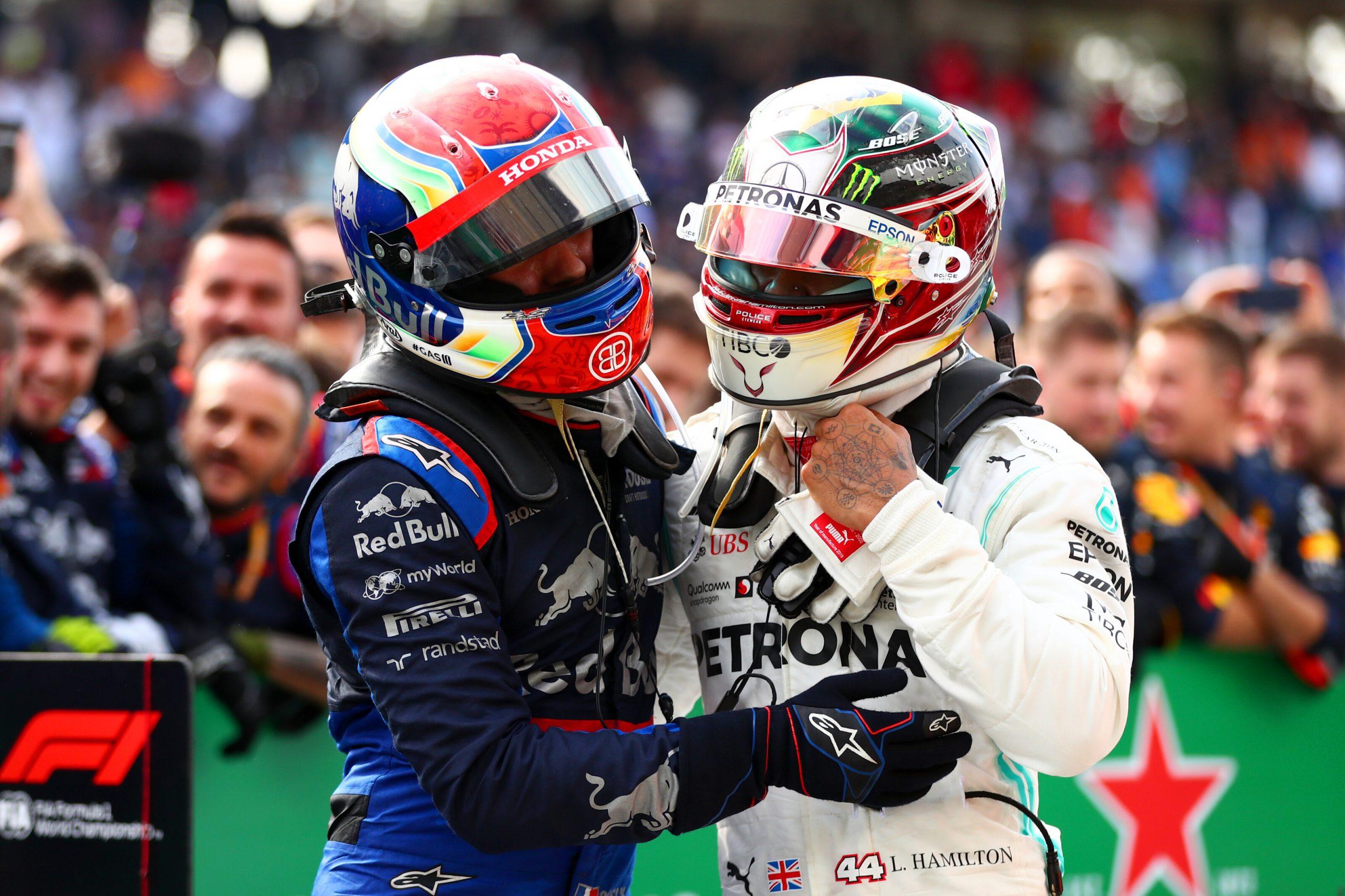 Pierre Gasly et Lewis Hamilton