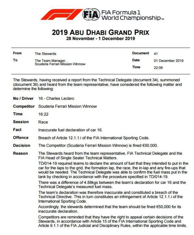 Pourquoi Ferrari n'a reçu qu'une simple amende à Abou Dhabi ? 1
