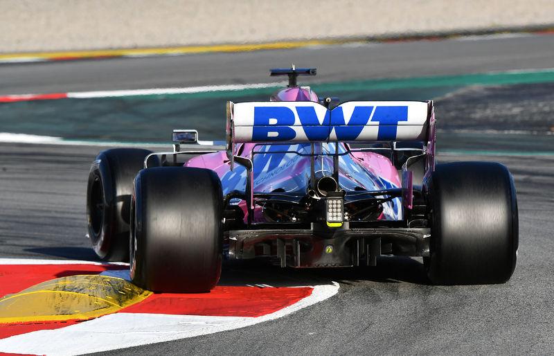 f1 2020 Racing Point Sergio Perez sur le circuit de Barcelone