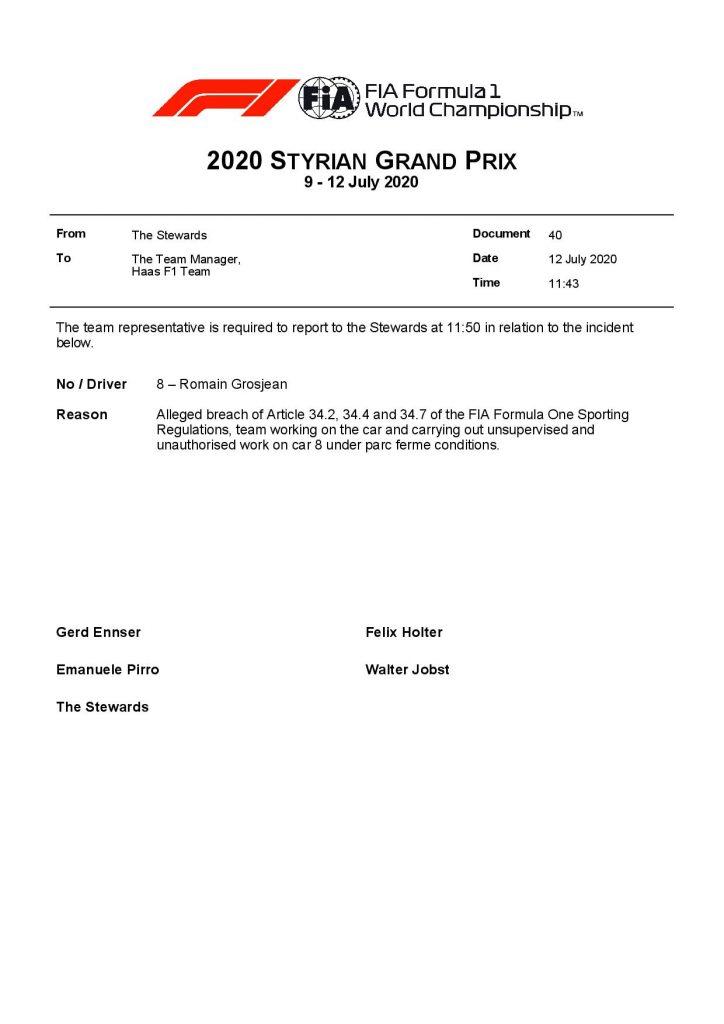 F1 - Officiel : L'équipe Haas convoquée chez les commissaires avant le départ [MAJ]