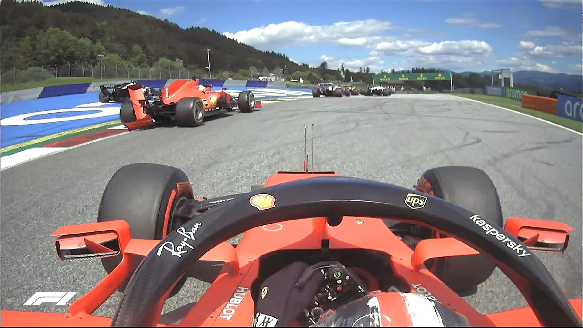 Les deux Ferrari se percutent dès le premier tour au GP de Styrie 1