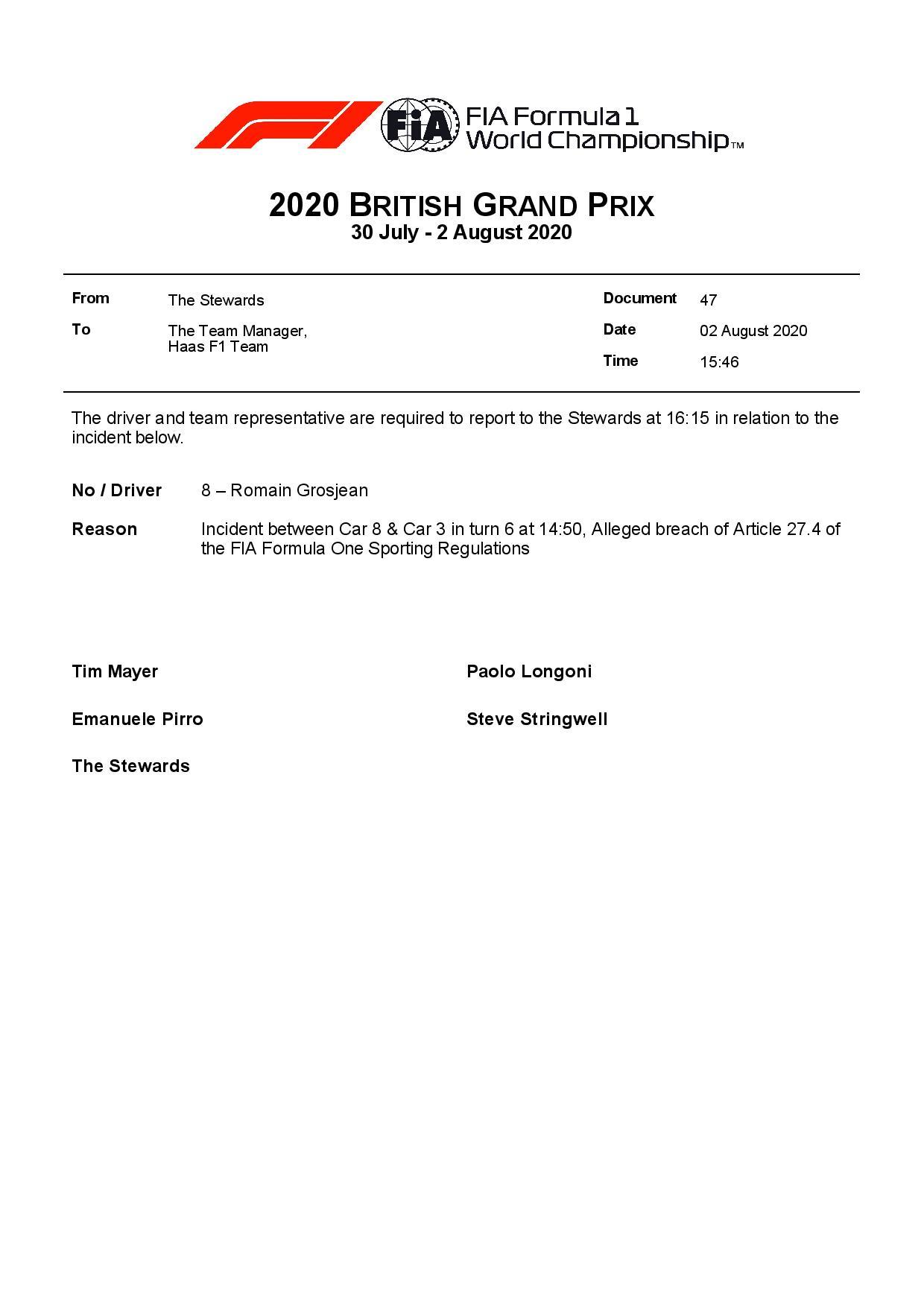 Officiel : Romain Grosjean convoqué chez les commissaires à Silverstone 2