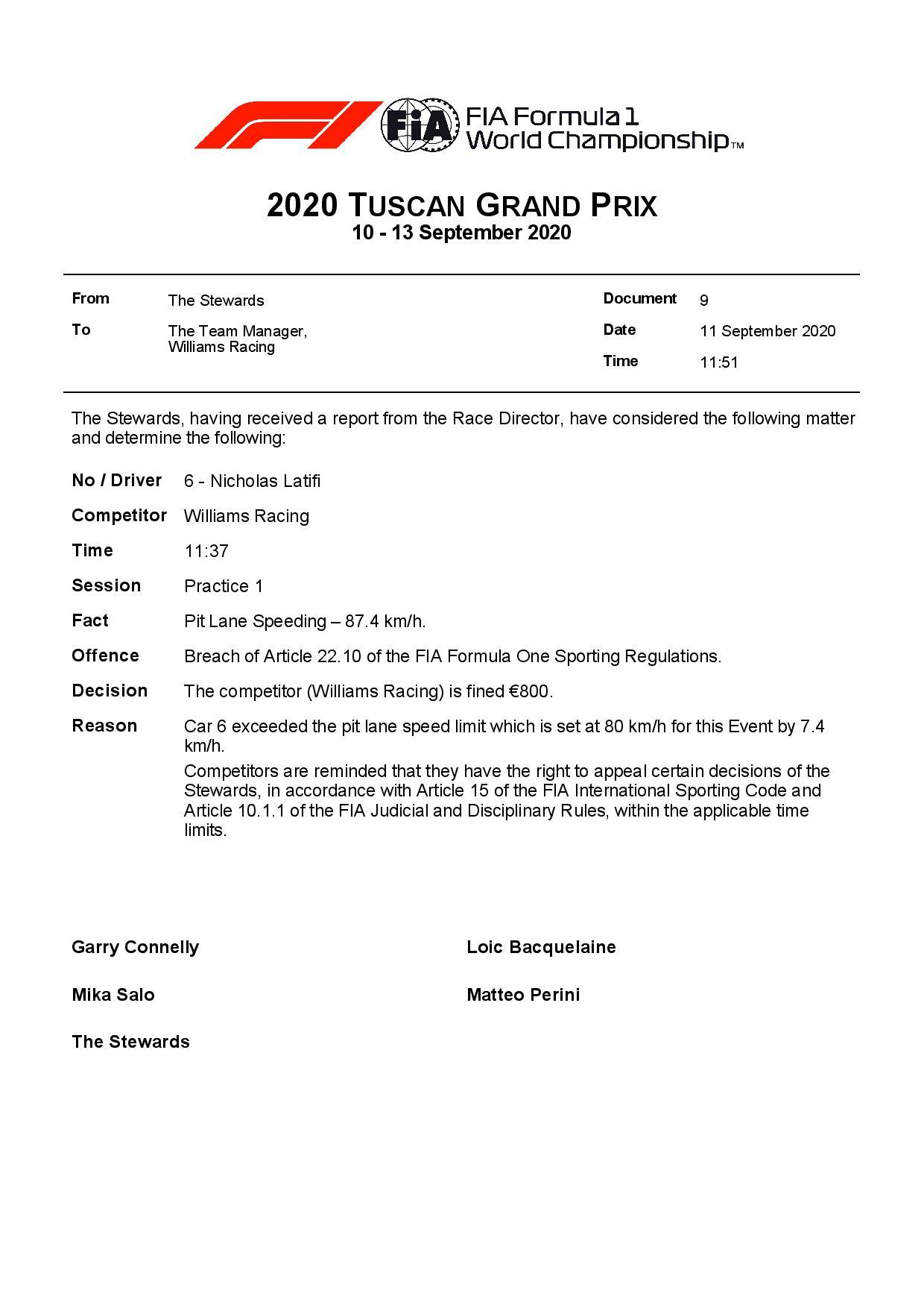 Officiel : L'équipe Williams à l'amende au GP de Toscane 2
