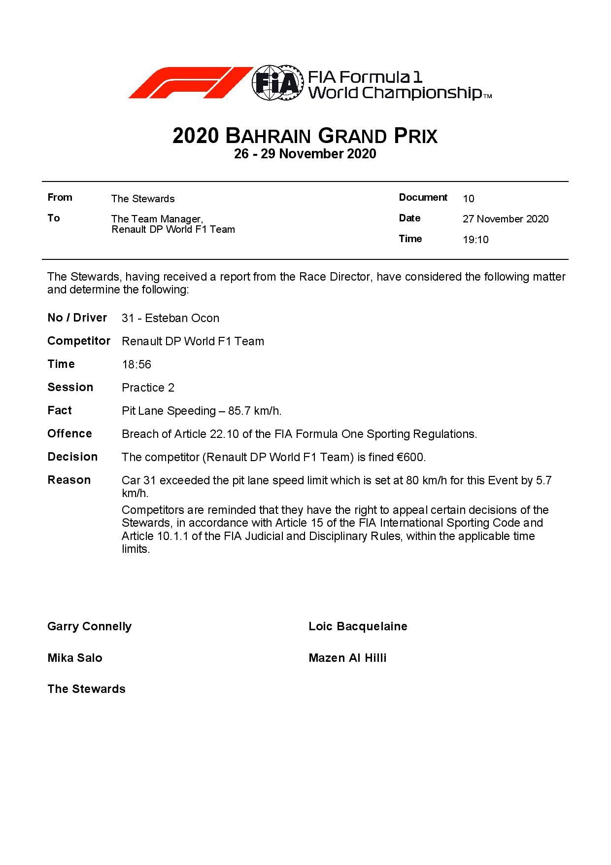 F1 - L'équipe Renault F1 à l'amende au Grand Prix de Bahreïn