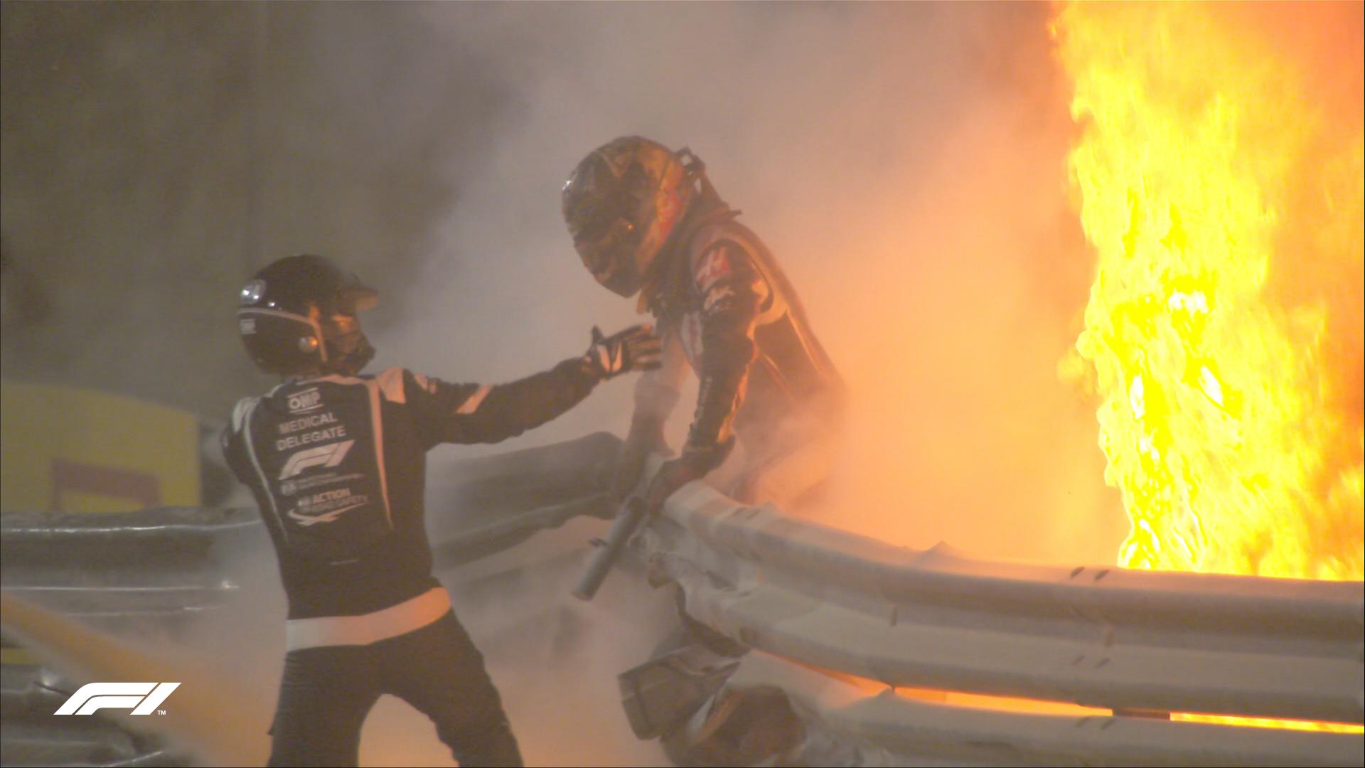 F1 - Le GP de Bahreïn suspendu suite à un grave accident pour Grosjean