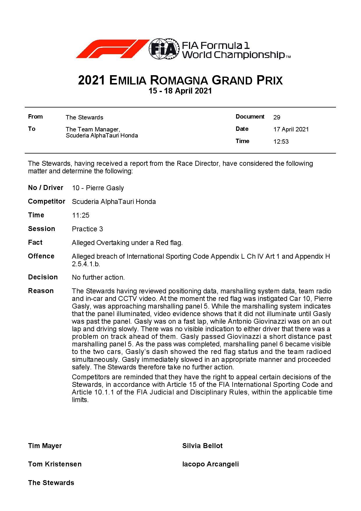 F1 - Gasly échappe à une pénalité sur la grille de départ à Imola