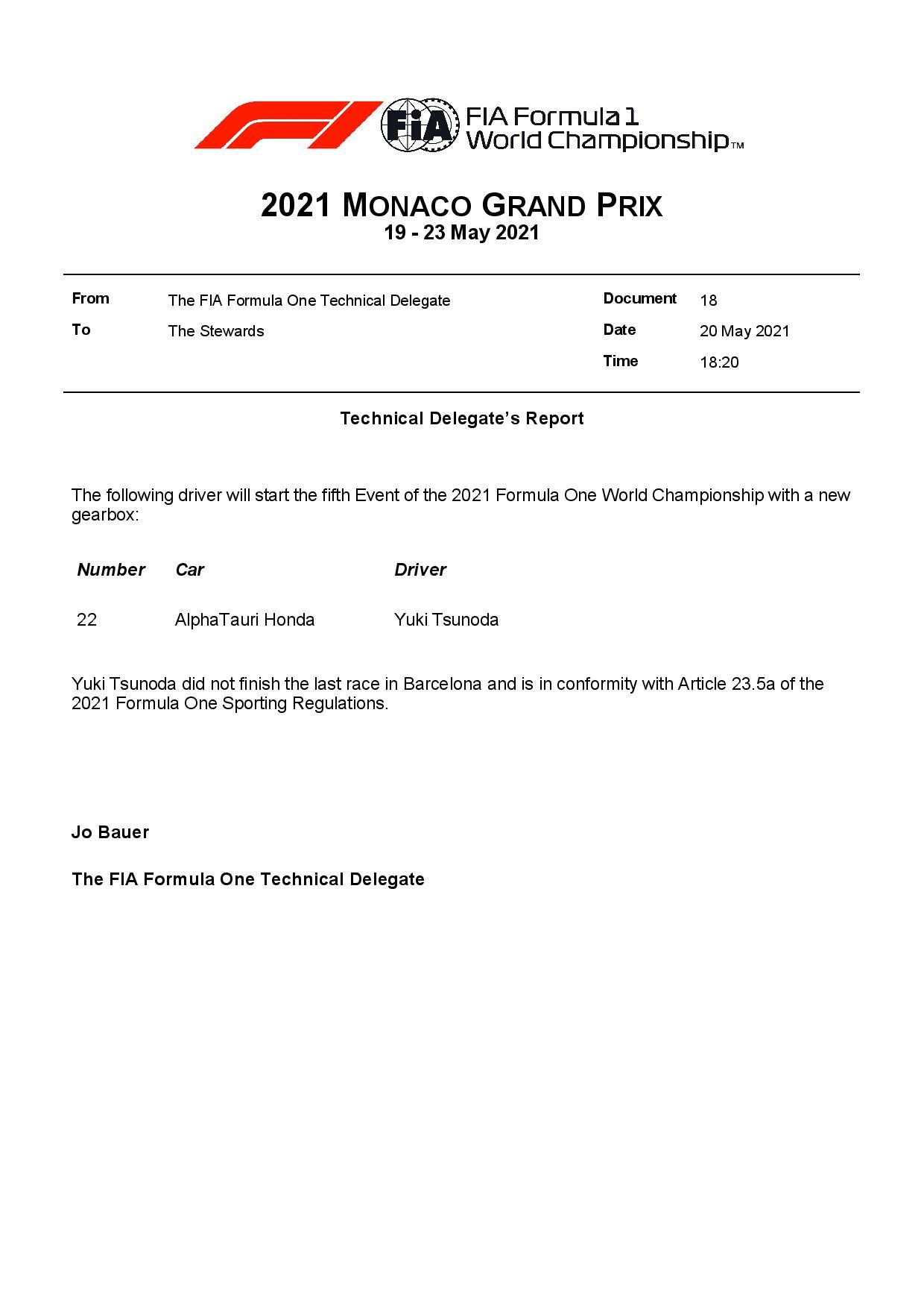 F1 - Yuki Tsunoda reçoit une boîte de vitesses neuve à Monaco
