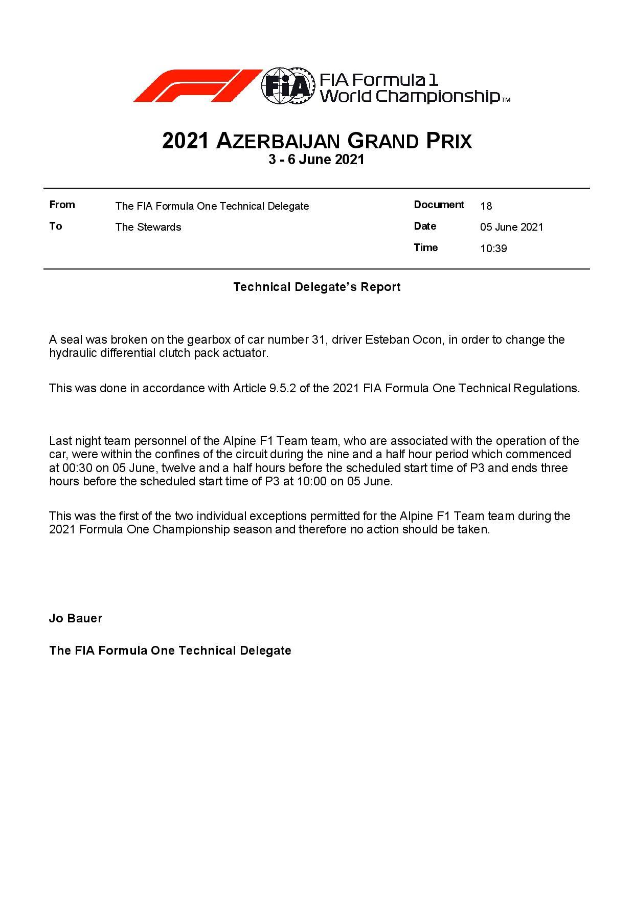 F1 - Officiel : L'équipe Alpine a enfreint le couvre feu à Bakou