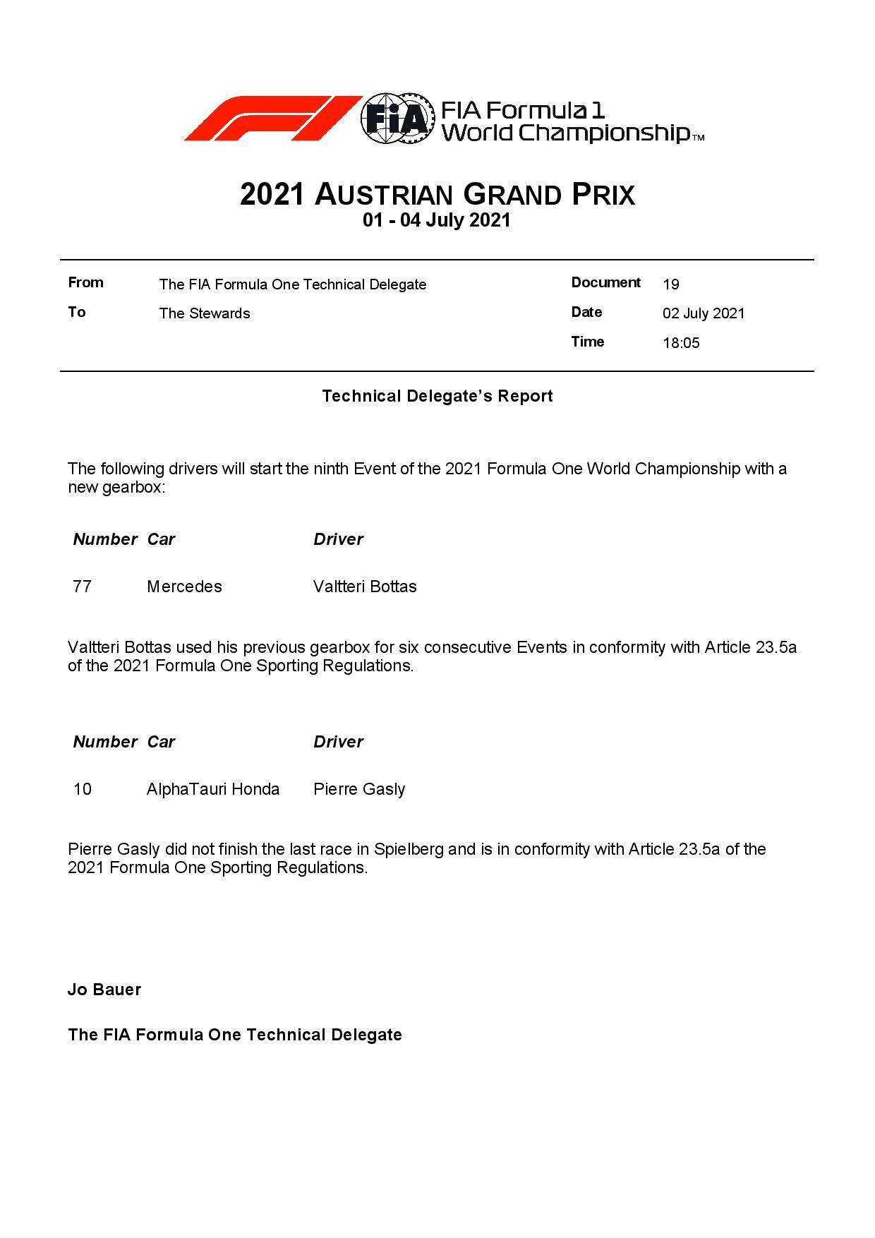 F1 - Boîte de vitesses neuve pour Bottas et Gasly au GP d'Autriche