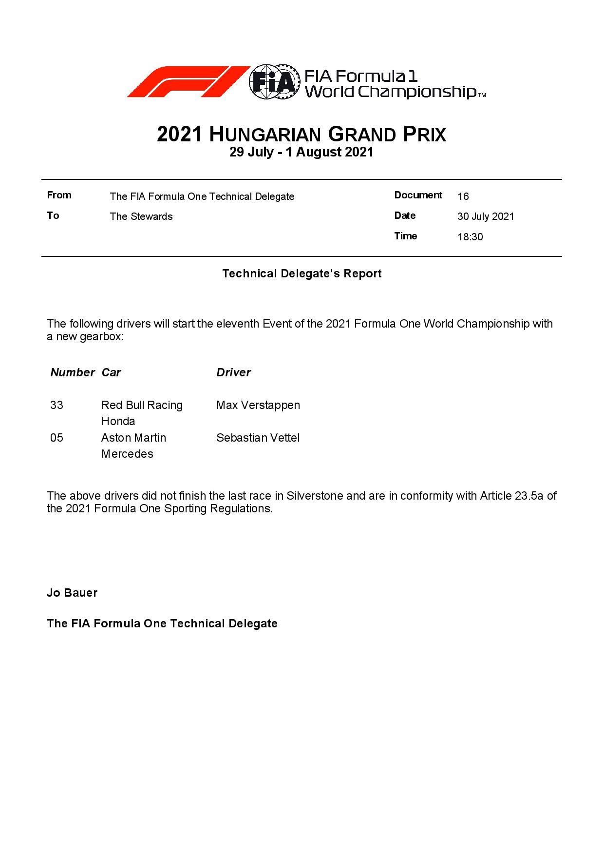 F1 - Boîte de vitesses neuve pour Verstappen et Vettel à Budapest
