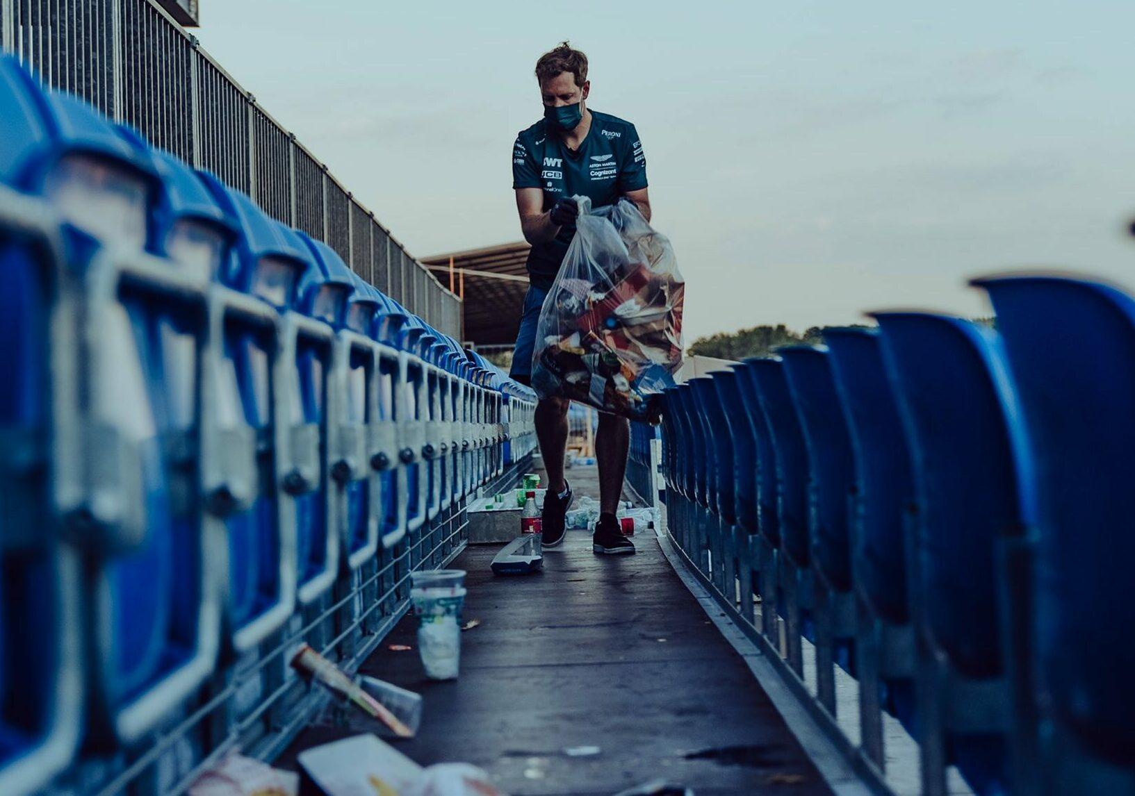 F1 - Sebastian Vettel ramasse les déchets des fans à Silverstone