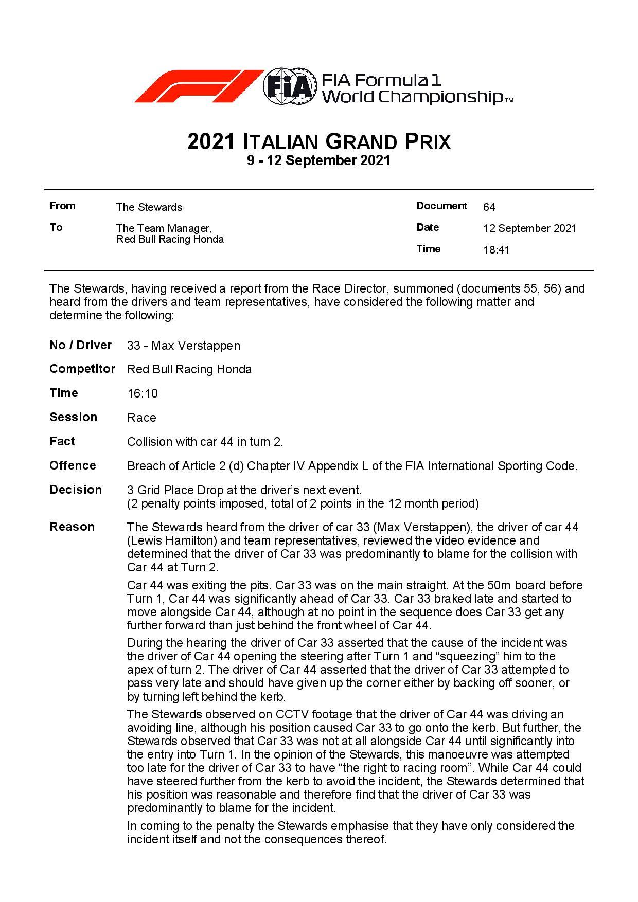 F1 - Officiel : Max verstappen pénalisé sur la grille de départ en Russie