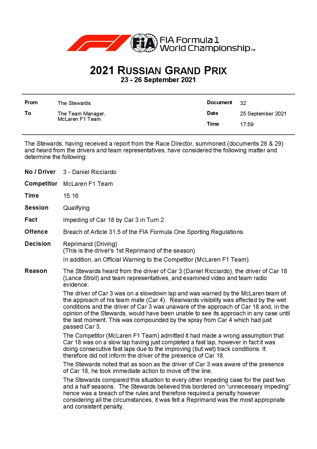 Official: Ricciardo will get a reprimand, McLaren a warning    F1only.fr